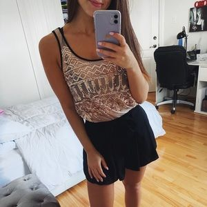 SPARKLING PINK AND BLACK CHIC TOP SMALL
